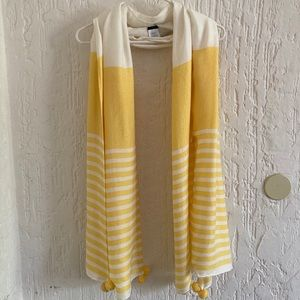 J. Crew Yellow and White Striped Shawl Scarf